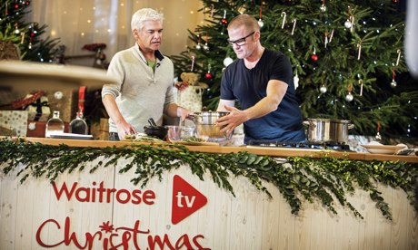 Heston Blumenthal cooks on a live webcast on the Waitrose YouTube channel, hosted by Phillip Schofie
